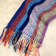 Applejuice Accessories Rainbow Stripes Fringe Blanket Scarf
