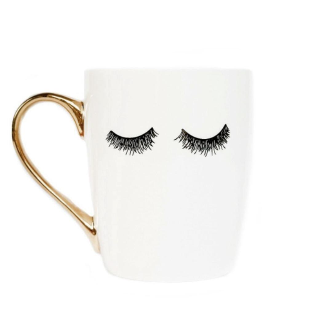 Sweet Water Decor Gold Eyelashes Coffee Mug