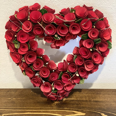 "Transpac 12"" Wooden Rosette Heart Wreath"