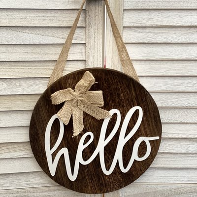 Heart and Home WS Round Wooden Hello Sign