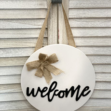 Heart and Home WS Round Wooden Welcome Sign
