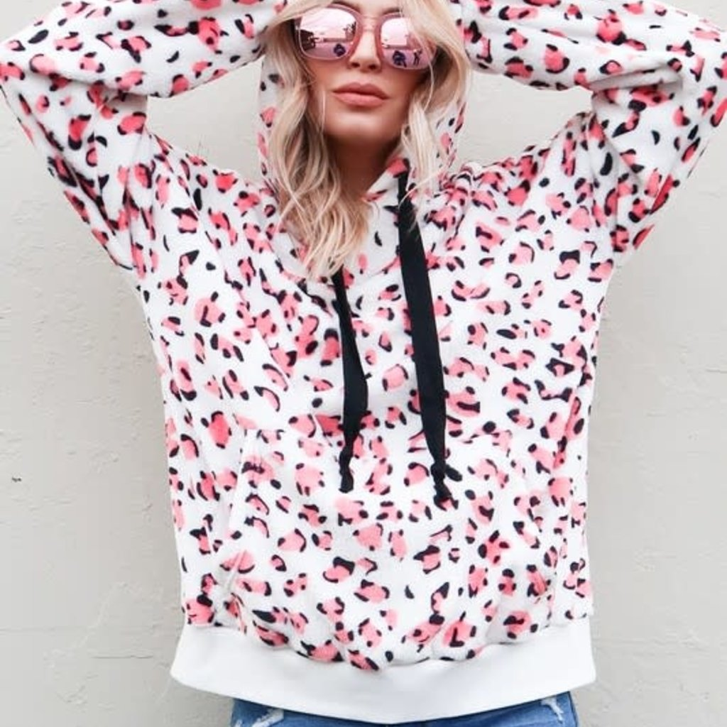And the Why Pink Leopard Sherpa Hoodie (S-L)