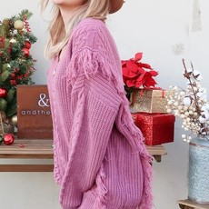 And the Why Lavender Fringe Sweater (S-L)