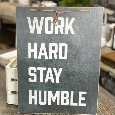 Clairmont & Co 14x12 Slate Board Sign - Work Hard Play Harder