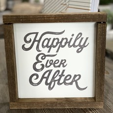 Clairmont & Co 8x8  Wood Frame Sign - Happily Ever After