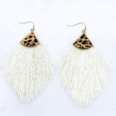 Southern Seoul Leopard Tassel Earrings (Black, Gray, Ivory)