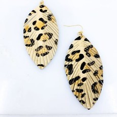 Southern Seoul Leopard Fringe Leather Drop Earrings