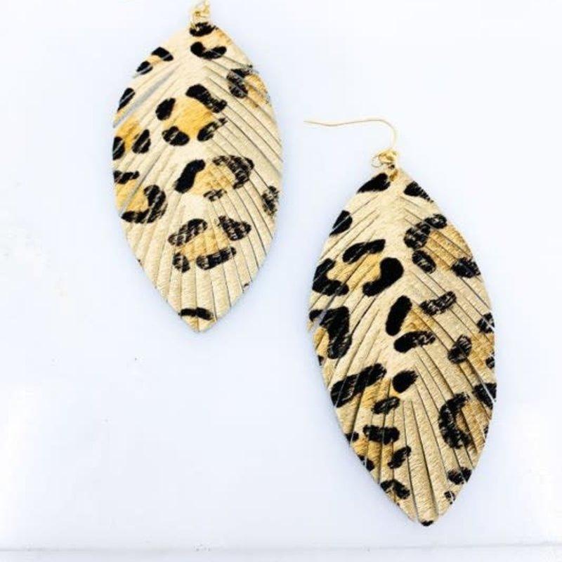 Southern Seoul Leopard Fringe Leather Drop Earrings