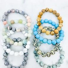 Southern Seoul Large Beaded Stone Bracelets (Mint, White, Turq)