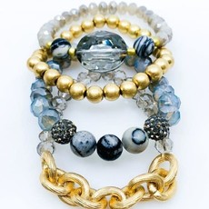 Southern Seoul Grey 4 Strand Stone Chain Bracelet Set