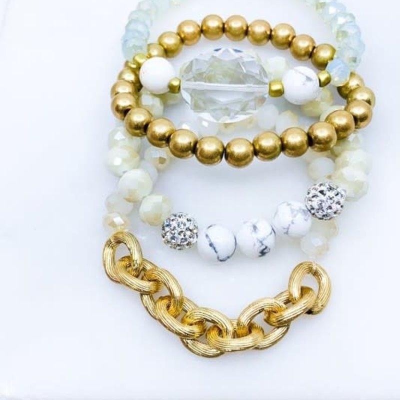 Southern Seoul White 4 Strand Stone Chain Bracelet Set