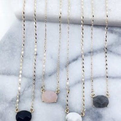 Southern Seoul Dainty Stone Necklace (4 Colors)