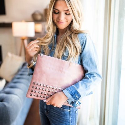 Dani & Em Studded Clutch (Blush or Slate)