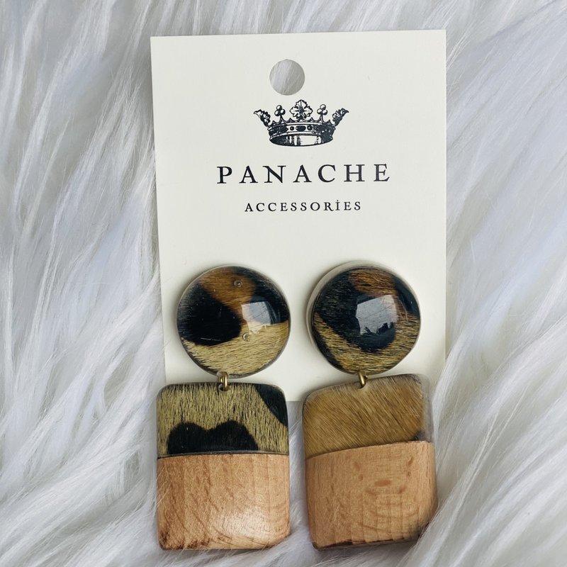 Panache Leopard Wood & Acrylic Earrings