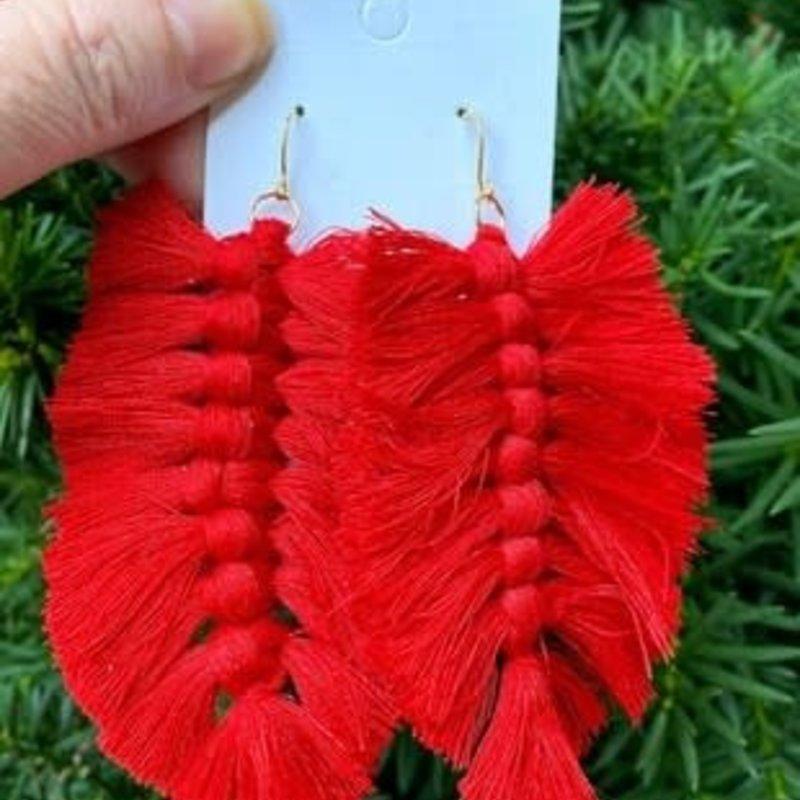 Baubles by B Red Macrame Leaf Earrings