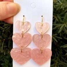 Baubles by B Acrylic Blush Heart Earrings