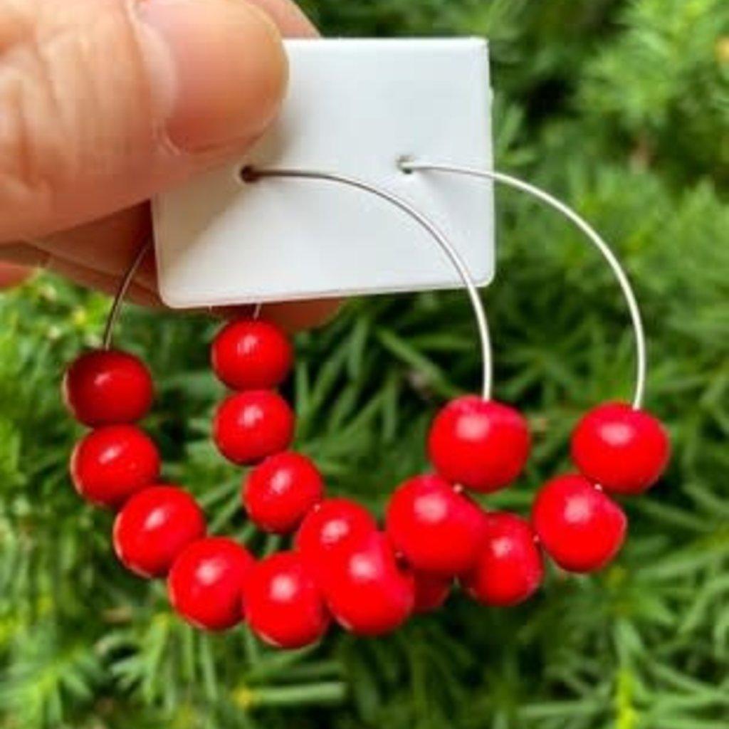 Baubles by B Red Beaded Hoop Earrings