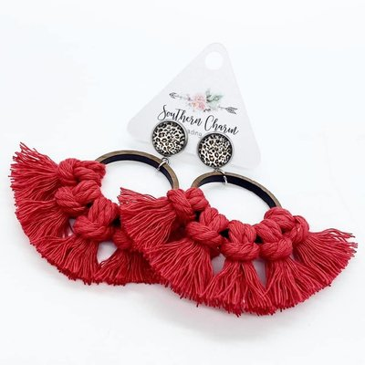 Southern Charm Trading Co Valentine Macrame Hoops - Red