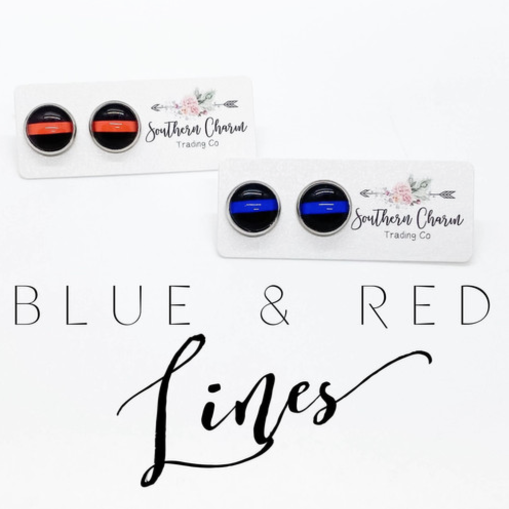 Southern Charm Trading Co Thin Blue & Red Line Earrings