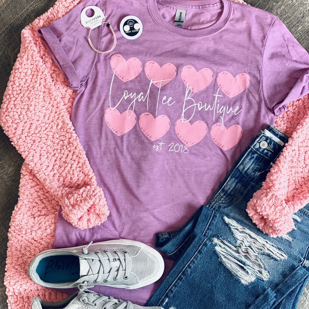 Gildan Loyal Tee Boutique Pink Hearts Tee (S-3XL)