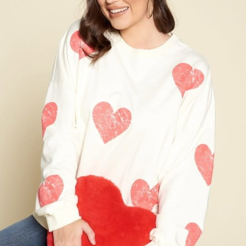 Oddi Scratched Heart Cream Sweatshirt (S-3XL)