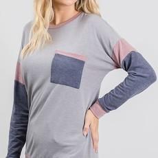 GeeGee Vintage Gray Long Sleeve Top (S-3XL)