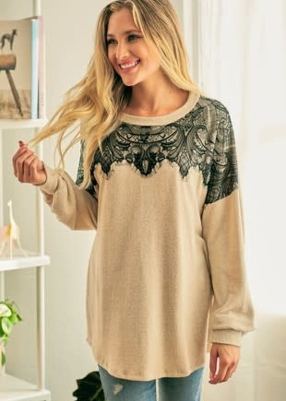 Lovely Melody Black Lace Oatmeal Sweater (S-XL)