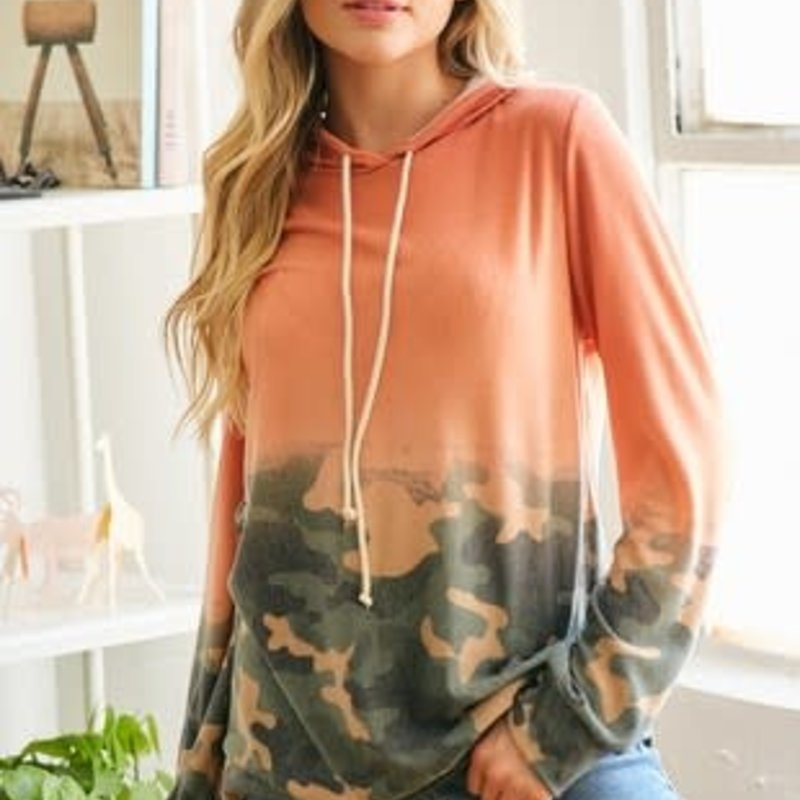 Lovely Melody Coral & Camo Ombre Hoodie (S-XL)