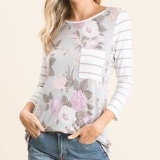 Lovely Melody Lavender Stripe Floral Raglan (S-XL)