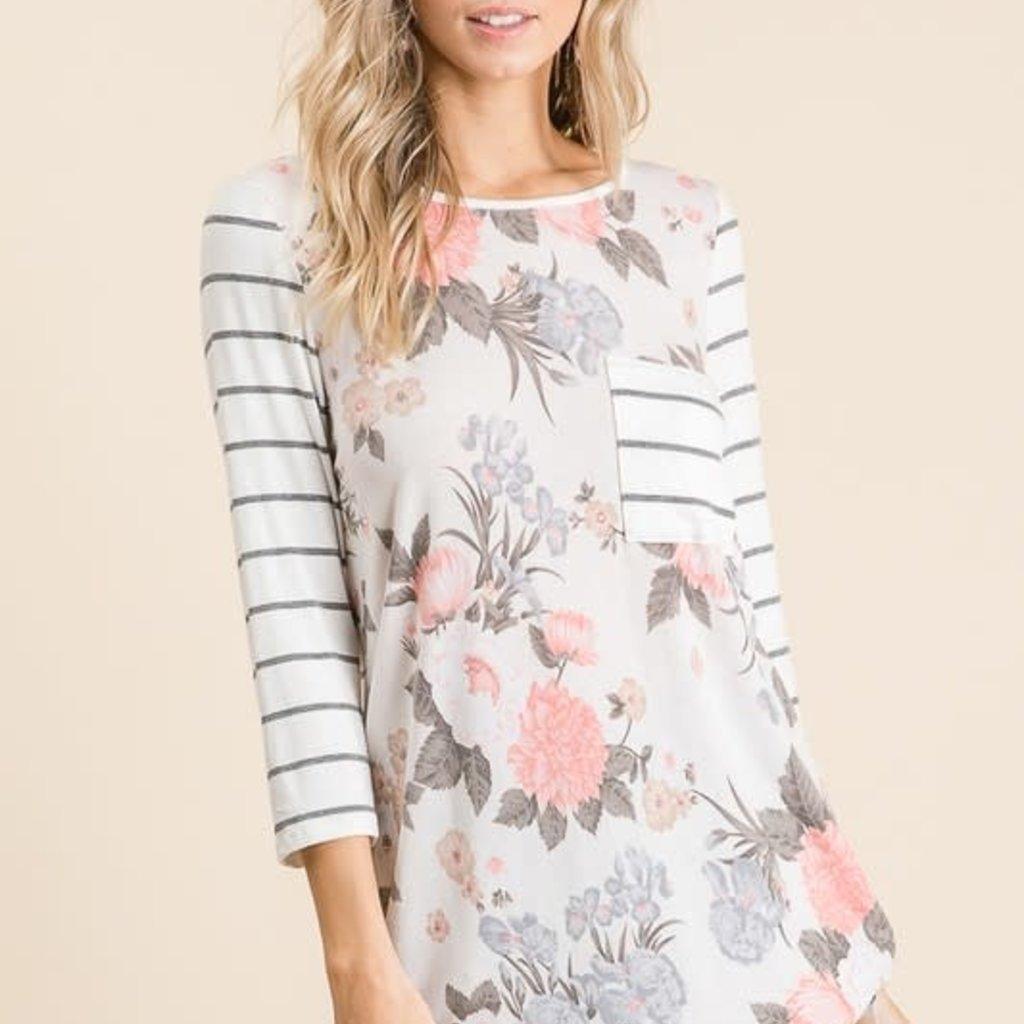 Lovely Melody Coral Stripe Floral Raglan (S-XL)
