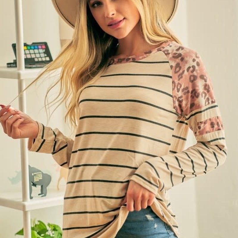 Lovely Melody Mauve Stripe Leopard Top (S-XL)