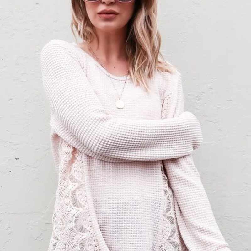 And the Why Beige Waffle Side Lace Top (S-L)