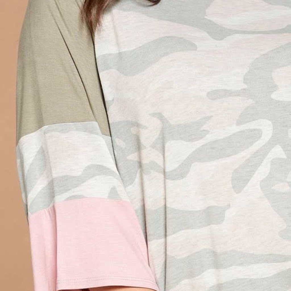 Oddi Navy & Pink Camo Loose Raglan Top (S-3XL)