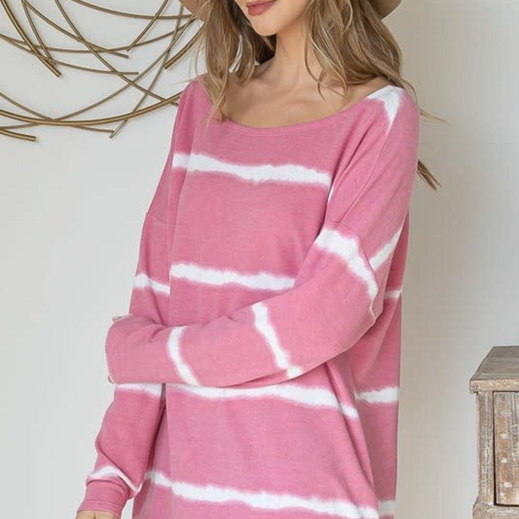 First Love Bubblegum Striped Boatneck Top (S-L)