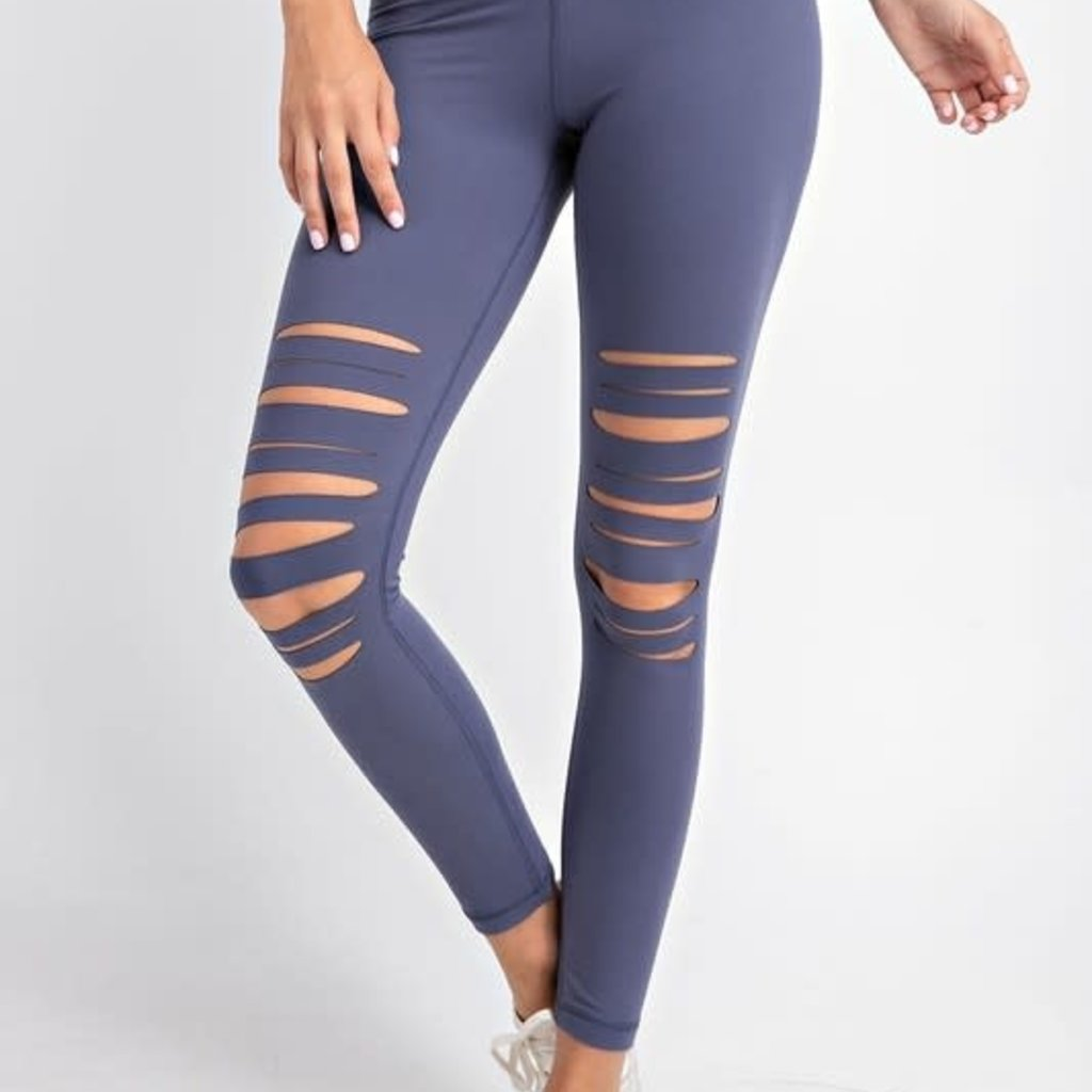 Rae Mode Vintage Denim Slit Leggings (1XL-3XL)