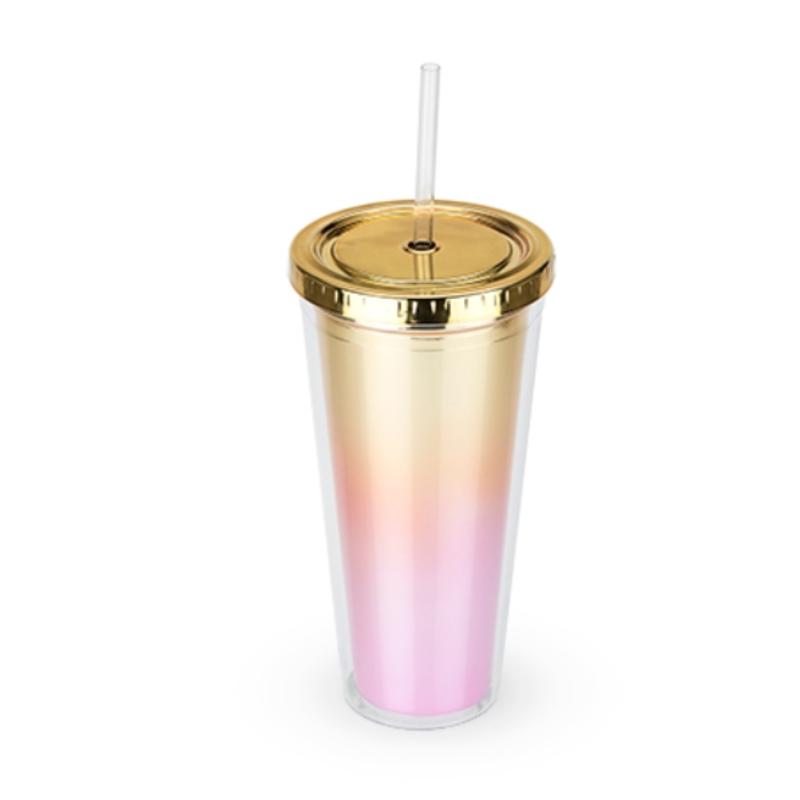Blush Metallic Gold Pink Tumbler