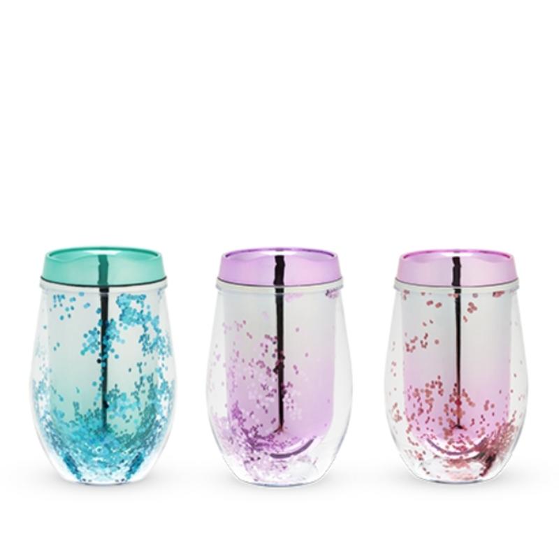 Blush Assorted Glitter Wine Tumblers (3 Colors)