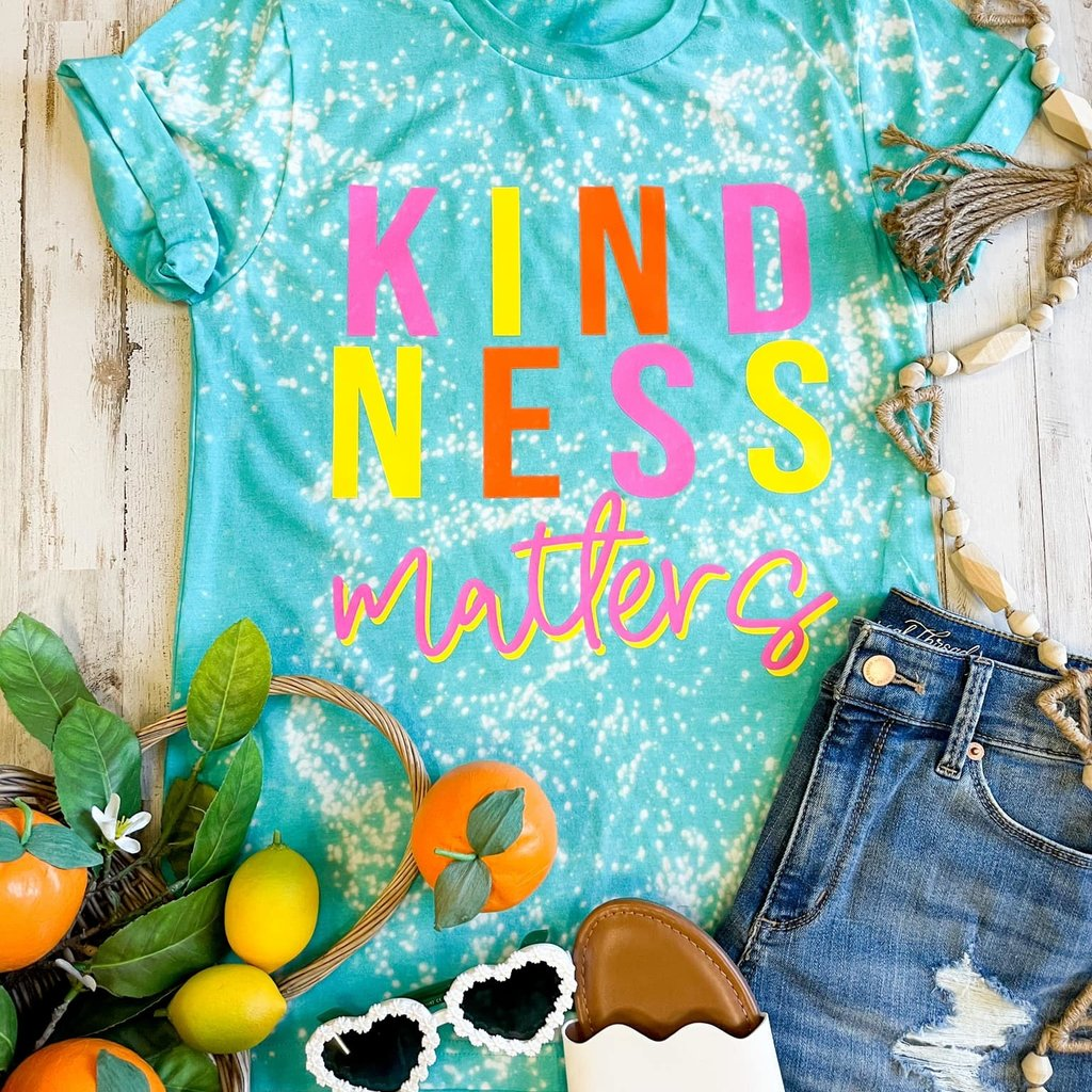 Bella Canvas Sea Green Kindness Matters Bleached Tee (S-3XL)