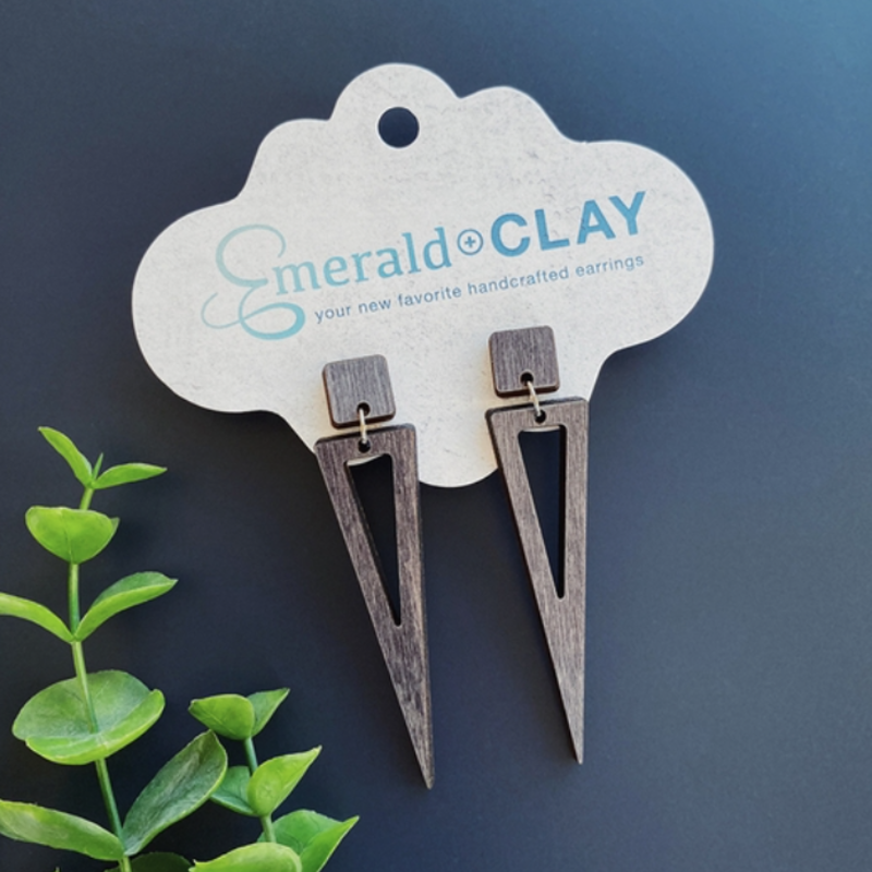 Emerald + Clay E+C Ash Gray Wood Spear Earrings