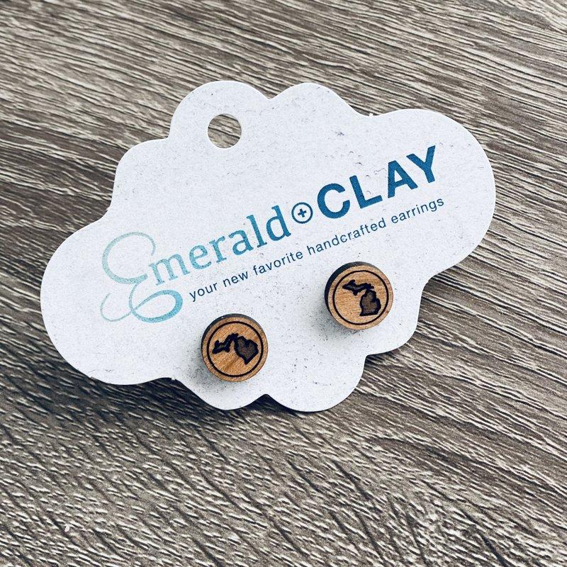 Emerald + Clay E+C Michigan Wood Stud Earrings