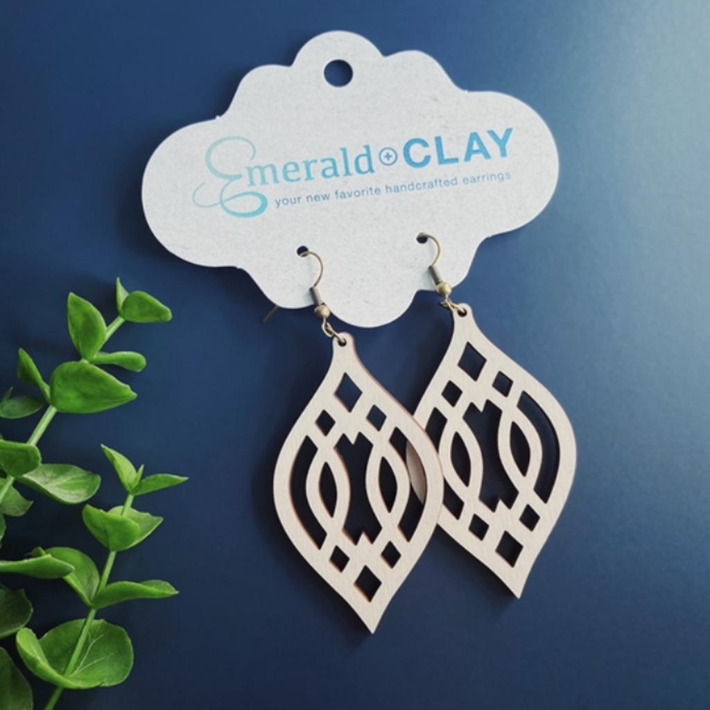 Emerald + Clay E+C Silver Ivory Wood Trellis Earrings