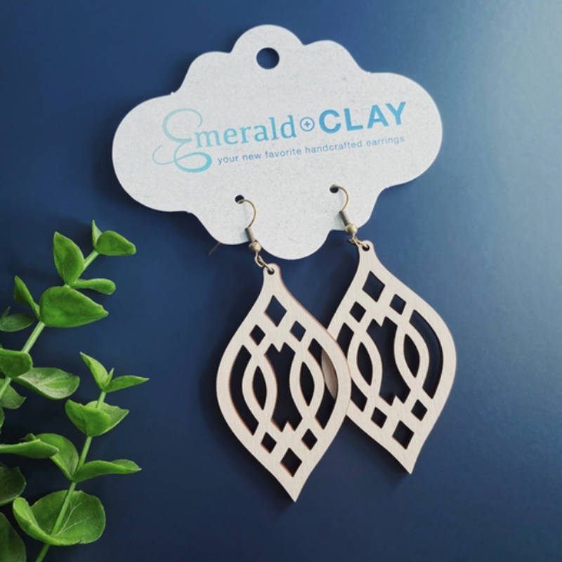 Emerald + Clay E+C Silver Ivory Wood Trellis Earrings