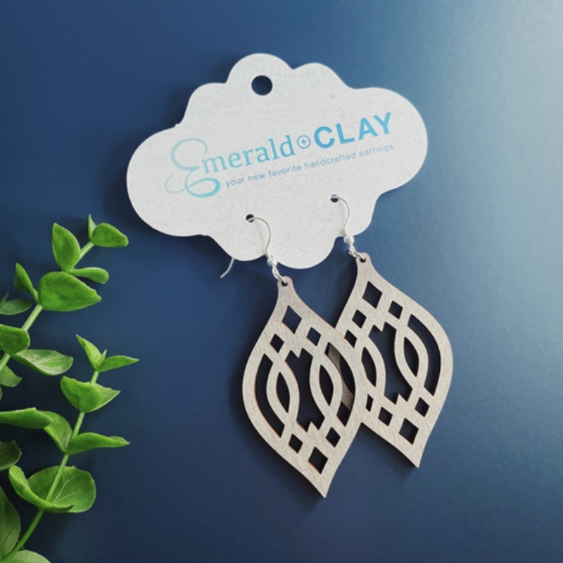 Emerald + Clay E+C Silver Gray Wood Trellis Earrings
