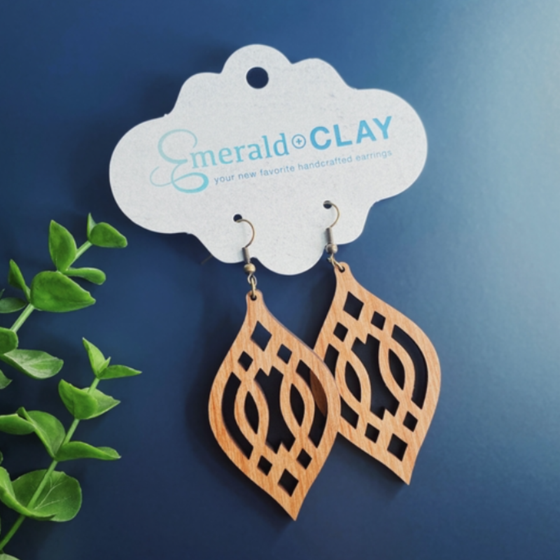 Emerald + Clay E+C Silver Alder Wood Trellis Earrings