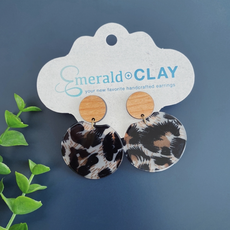 Emerald + Clay E+C Cheetah Acrylic Wood Earrings