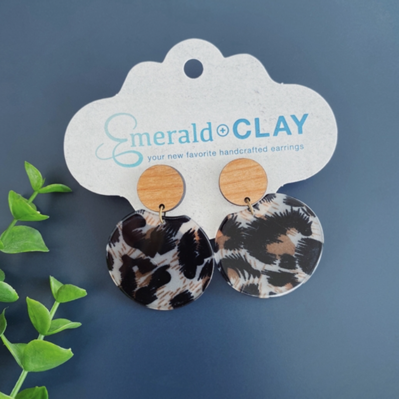 Emerald + Clay E+C Cheetah Acrylic Wood Earrings