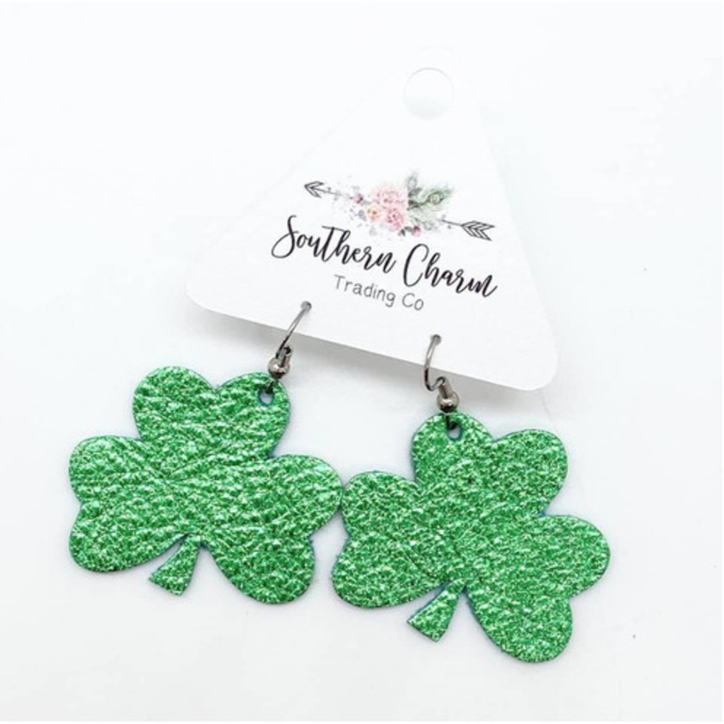 Southern Charm Trading Co Green Leather Shamrock Earrings
