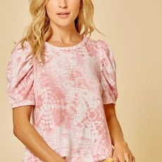 Andree by Unit Coral Puff Sleeve Tie Dyed Top (S-3XL)