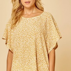 Andree by Unit Marigold Flutter Sleeve Leopard Top (S-3XL)