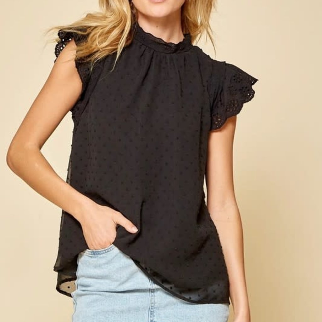 Andree by Unit Black High Neck Blouse (S-3XL)